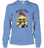 Baby Yoda Loves Malibu Rum The Mandalorian Fan Long Sleeve T-Shirt