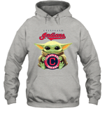 Baby Yoda Loves Cleveland Indians The Mandalorian Fan Hoodie