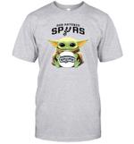 Baby Yoda Loves San Antonio Spurs The Mandalorian Fan T-Shirt