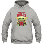 Baby Yoda Loves Chicago Bulls The Mandalorian Fan Hoodie