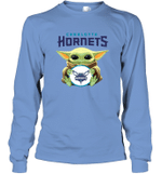 Baby Yoda Loves Charlotte Hornets The Mandalorian Fan Long Sleeve T-Shirt