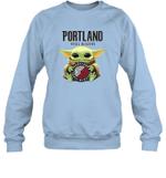 Baby Yoda Loves Portland Trail Blazers The Mandalorian Fan Sweatshirt
