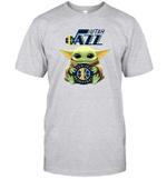 Baby Yoda Loves Utah Jazz The Mandalorian Fan T-Shirt