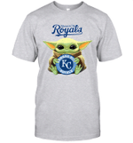 Baby Yoda Loves Kansas City Royals The Mandalorian Fan T-Shirt