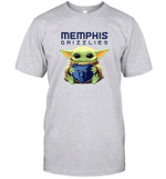 Baby Yoda Loves Memphis Grizzlies The Mandalorian Fan T-Shirt