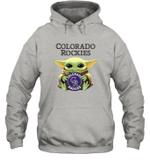 Baby Yoda Loves Colorado Rockies The Mandalorian Fan Hoodie