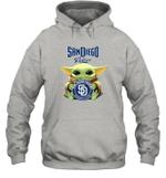 Baby Yoda Loves San Diego Padres The Mandalorian Fan Hoodie