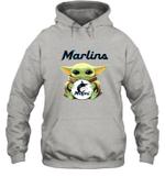 Baby Yoda Loves Miami Marlins The Mandalorian Fan Hoodie