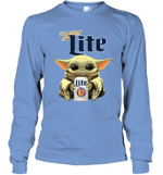 Baby Yoda Loves Miller Lite Beer The Mandalorian Fan Long Sleeve T-Shirt