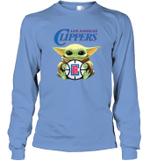 Baby Yoda Loves Los angeles Clippers The Mandalorian Fan Long Sleeve T-Shirt