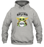 Baby Yoda Loves San Antonio Spurs The Mandalorian Fan Hoodie