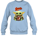 Baby Yoda Loves Baltimore Orioles The Mandalorian Fan Sweatshirt