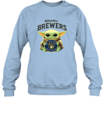 Baby Yoda Loves Milwaukee Brewers The Mandalorian Fan Sweatshirt