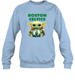 Baby Yoda Loves Boston Celtics The Mandalorian Fan Sweatshirt