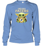 Baby Yoda Loves Indiana Pacers The Mandalorian Fan Long Sleeve T-Shirt