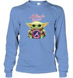 Baby Yoda Loves Atlanta Braves The Mandalorian Fan Long Sleeve T-Shirt