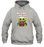Baby Yoda Loves Miami Heat The Mandalorian Fan Hoodie