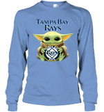 Baby Yoda Loves Tampa Bay Rays The Mandalorian Fan Long Sleeve T-Shirt