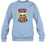 Baby Yoda Loves Cincinnati Reds The Mandalorian Fan Sweatshirt