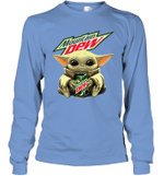 Baby Yoda Loves Moutain Dew The Mandalorian Fan Long Sleeve T-Shirt