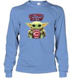 Baby Yoda Loves Cincinnati Reds The Mandalorian Fan Long Sleeve T-Shirt