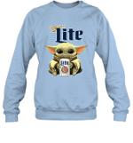 Baby Yoda Loves Miller Lite Beer The Mandalorian Fan Sweatshirt