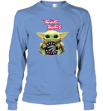 Baby Yoda Loves Toronto Raptors The Mandalorian Fan Long Sleeve T-Shirt