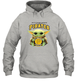 Baby Yoda Loves Pittsburgh Pirates The Mandalorian Fan Hoodie