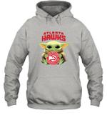 Baby Yoda Loves Atlanta Hawks The Mandalorian Fan Hoodie
