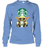 Baby Yoda Loves Starbucks Coffee The Mandalorian Fan Long Sleeve T-Shirt