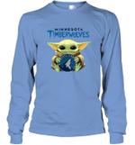 Baby Yoda Loves Minnesota Timberwolves The Mandalorian Fan Long Sleeve T-Shirt