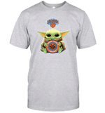 Baby Yoda Loves New York Knicks The Mandalorian Fan T-Shirt