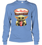 Baby Yoda Loves Tim Hortons Coffee The Mandalorian Fan Long Sleeve T-Shirt