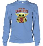 Baby Yoda Loves Cleveland Cavaliers The Mandalorian Fan Long Sleeve T-Shirt