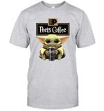 Baby Yoda Loves Peet_s Coffee The Mandalorian Fan T-Shirt