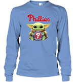 Baby Yoda Loves Philadelphia Phillies The Mandalorian Fan Long Sleeve T-Shirt