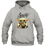 Baby Yoda Loves Sailor Jerry The Mandalorian Fan Hoodie