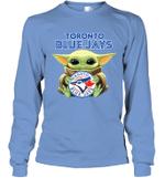 Baby Yoda Loves Toronto Blue Jays The Mandalorian Fan Long Sleeve T-Shirt