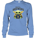 Baby Yoda Loves Milwaukee Brewers The Mandalorian Fan Long Sleeve T-Shirt