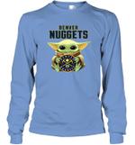 Baby Yoda Loves Denver Nuggets The Mandalorian Fan Long Sleeve T-Shirt