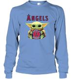 Baby Yoda Loves Los Angeles Angels The Mandalorian Fan Long Sleeve T-Shirt