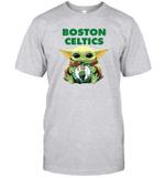 Baby Yoda Loves Boston Celtics The Mandalorian Fan T-Shirt