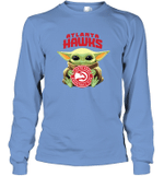 Baby Yoda Loves Atlanta Hawks The Mandalorian Fan Long Sleeve T-Shirt