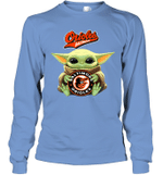 Baby Yoda Loves Baltimore Orioles The Mandalorian Fan Long Sleeve T-Shirt