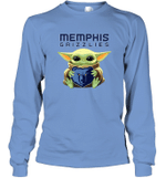 Baby Yoda Loves Memphis Grizzlies The Mandalorian Fan Long Sleeve T-Shirt