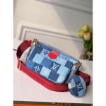 Multi Pochette Accessoires Shoulder Bag In Damier Monogram Denim Canvas M44990 Blue/red 2020 Collection