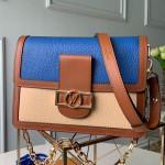 Lv Lock Dauphine Mm Shoulder Bag M53830 Blue/beige 2019 Collection