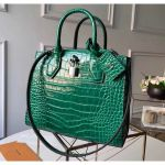 City Steamer Pm Top Handle Bag In Glossy Crocodile Leather Green N92853 Collection