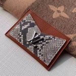Lockme Grained Leather And Pythonskin Card Holder N97001 Brown 2019 Collection