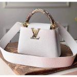 Taurillon & Python Leather Capucines Mini Top Handle Bag N97400 White Collection